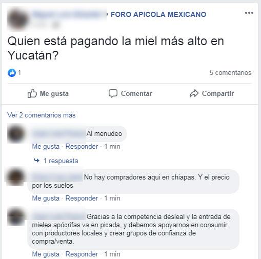 Post que refleja la situación precaria de los precios de la miel en Yucatán, México.